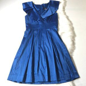 Teeze Me Sleeveless Pleated V Collar Dress in Blue